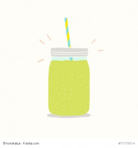 Green smoothie in a jar.